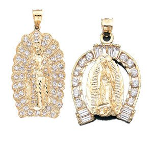 Virgin Mary Charm with CZ