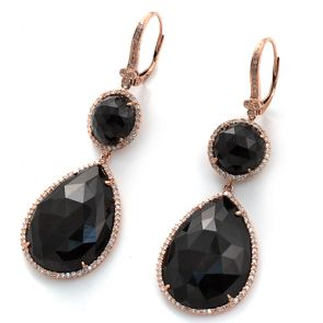14k Rose Gold Black Onyx Slice 20X57mm Diamond Earrings 0.56ctw