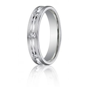 Palladium Diamond Wedding Band 4mm. 0.12ct