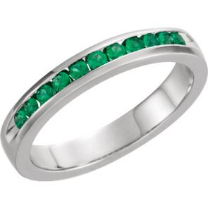 0.25ct Channel Set  Emerald Band In 14k White Gold.