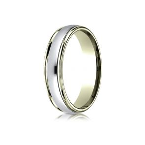 18 Kt Gold and Platinum Two Tone Wedding Band 4mm
