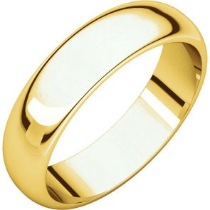 22K Gold 5mm High Polished Traditional Domed Wedding Band