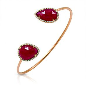 14k Rose Gold Ruby Slice Teardrop and Diamond Bangle 0.35ctw