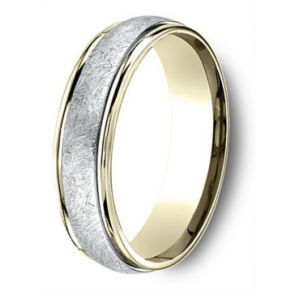 18Kt Yellow Gold and Platinum Two Tone Swirl Center Wedding Band 6mm
