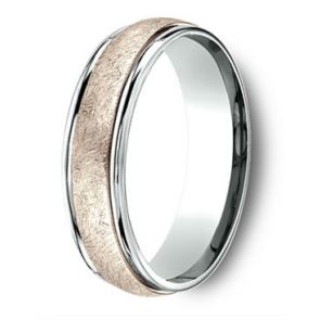 14Kt Rose Gold and Platinum Two Tone Swirl Center Wedding Band 6mm
