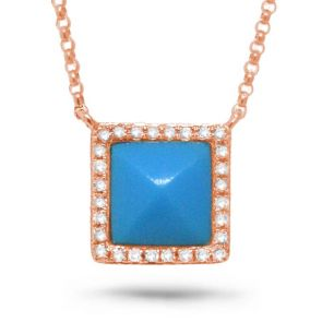 0.09ct Diamond & 0.73ct Composite Turquoise 14k Rose Gold Necklace