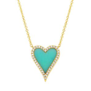 0.09ct Diamond & 0.69ct Composite Turquoise 14k Yellow Gold Heart Necklace