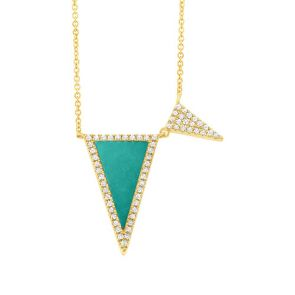 0.14ct Diamond & 0.82ct Composite Turquoise 14k Yellow Gold Triangle Necklace