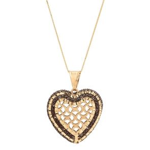14k Gold Two Tone Heart Necklace 25.0MM