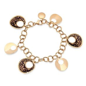 """14k Yellow Gold Disc Charm Bracelet Adjustable up to 8.0"""""""