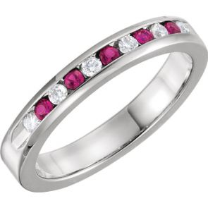 0.25ct Channel Set Diamond and Ruby Band In 14k White Gold.