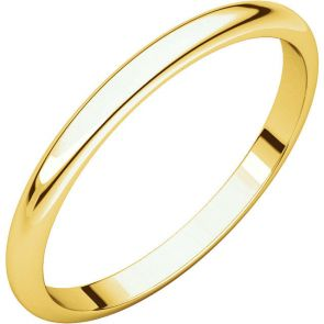 22K Gold 2mm High Polished Traditional Domed Wedding Band