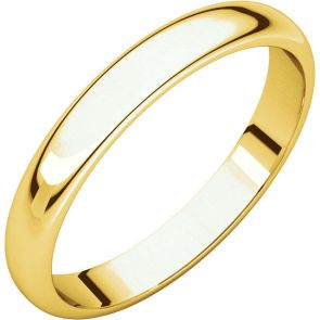 22K Gold 3mm High Polished Traditional Domed Wedding Band