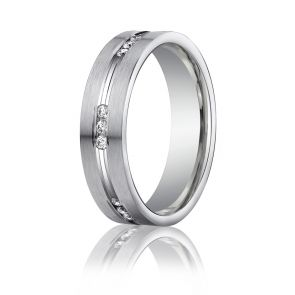 6mm Palladium .18ct. Diamond Wedding Band