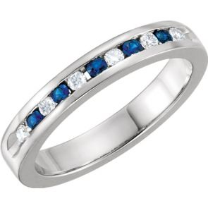0.25ct Channel Set Diamond and Sapphire Band In 14k White Gold.