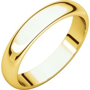 24K Gold 4mm High Polished Traditional Domed Wedding Band