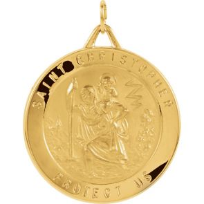 18kt Yellow Gold 21.75mm St. Christopher Medal
