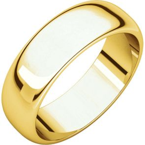 22K Gold 6mm High Polished Traditional Domed Wedding Band