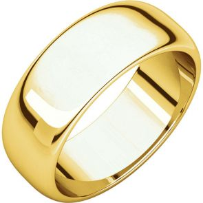 24K Gold 7mm High Polished Traditional Domed Wedding Band