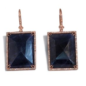 14k Rose Gold Blue Sapphire Slice Square Rectangle 21X42mm Diamond Earrings 0.76ctw