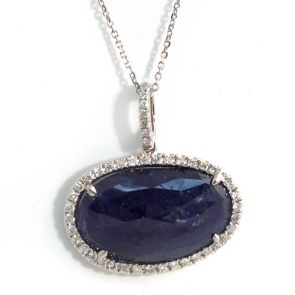 14k White Gold Blue Sapphire Double Horizontal Oval and Diamonds Pendant 20X22mm 0.24ctw
