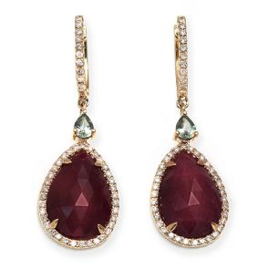 14k Yellow Gold Ruby Slice Teardrop 13X40mm Diamond Earrings 0.54ctw