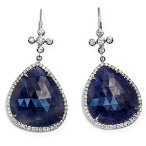 14k White Gold Blue Sapphire Slice Cross Teardrop 20X45mm Diamond Earrings 0.84ctw
