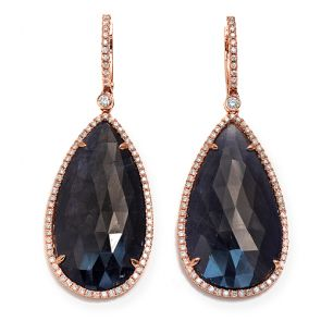 14k Rose Gold Blue Sapphire Slice Teardrop 19X52mm Diamond Earrings 0.94ctw