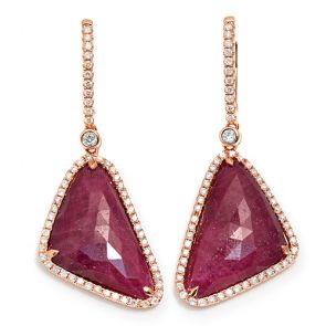14k Rose Gold Ruby Slice 17X42mm Diamond Earrings 0.72ctw
