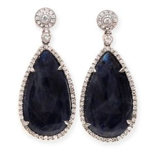 14k White Gold Blue Sapphire Slice Teardrop 16X37mm Diamond Earrings 0.81ctw