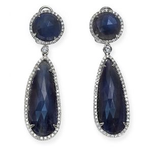 14k White Gold Blue Sapphire Slice Circle Teardrop 14X50mm Diamond Earrings 1.04ctw