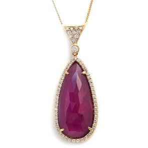 14k Yellow Gold Pink Sapphire Slice Teardrop with Diamond Bail Pendant 15X38mm 0.37ctw