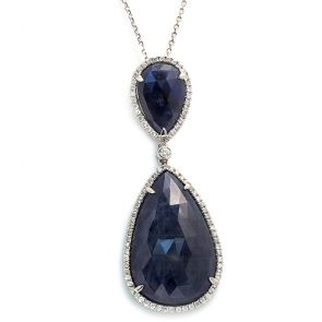 14k White Gold Blue Sapphire Double Teardrop and Diamonds Pendant 20X51mm 0.43ctw