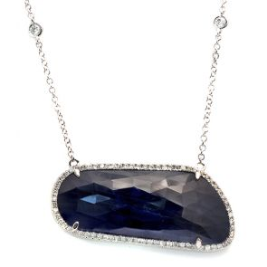 14k White Gold Blue Sapphire Slice Horizontal Rectangle and Diamond Pendant 38X16mm 0.50ctw