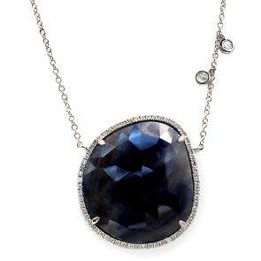 14k White Gold Blue Sapphire Slice Oval and Diamonds Pendant 27X30mm 0.46ctw