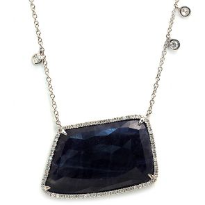 14k White Gold Blue Sapphire Slice Horizontal Rectangle and Diamonds Pendant 24X34mm 0.58ctw