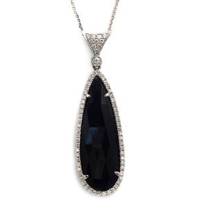 14k White Gold Blue Sapphire Slice Teardrop with Diamond Bail Pendant 16X50mm 0.52ctw