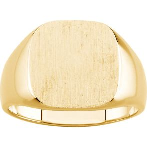 18k Gold  Traditional Signet Ring 14mmx14mm Solid Back