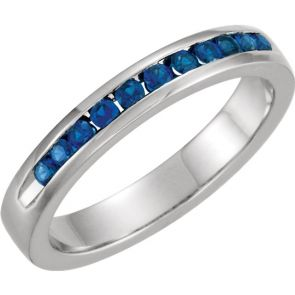 0.25ct Channel Set Sapphire Band In 14k White Gold.