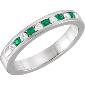 0.25ct Channel Set Diamond and Emerald Band In 14k White Gold.