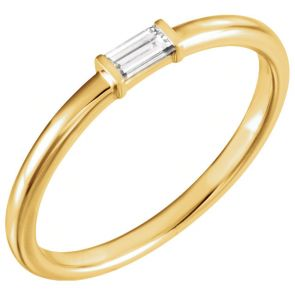 14k Yellow Gold Single Baguette Stackable Diamond Band 1/8 ctw 2.0mm