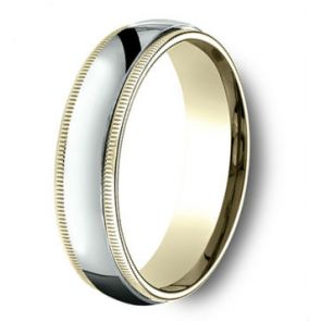 18 Kt Gold and Platinum Two Tone Milgrain Wedding Band 6mm