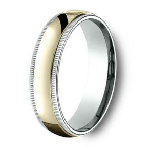 18Kt Gold and Platinum Two Tone Milgrain Wedding Band 6mm