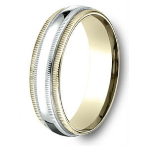 18Kt Gold and Platinum Two Tone Double Milgrain Wedding Band 6mm