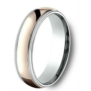 18Kt Rose Gold and Platinum Two Tone Milgrain Wedding Band 6mm