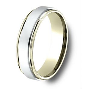 18Kt Yellow Gold and Platinum Two Tone Wedding Band 6mm