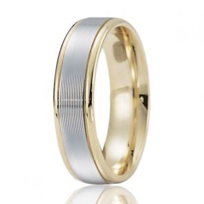 18 Kt Gold and Platinum Two Tone Ribbed Wedding Band 6mm