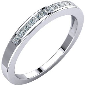 0.25ct Channel Set Princess cut Diamond Band In 14k White Gold.