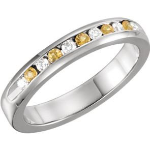 0.25ct Channel Set Diamond and Yellow Sapphire Band In 14k White Gold.