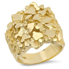 18K Gold Mens 25MM X 25MM Nugget Ring